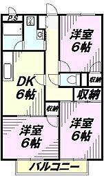 埼玉県所沢市狭山ケ丘1丁目の賃貸アパートの間取り