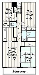 神奈川県綾瀬市蓼川2丁目の賃貸マンションの間取り