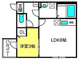 THE HOUSE 与野本町 Blanc 1階1LDKの間取り