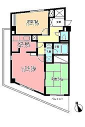 神奈川県横浜市都筑区牛久保西1丁目の賃貸マンションの間取り