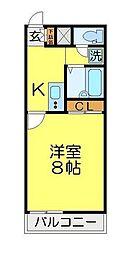 東武東上線 坂戸駅 徒歩10分の賃貸アパート 2階1Kの間取り