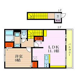 ラウレア彦根2 2階1LDKの間取り