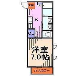 埼玉県川口市大字赤山の賃貸アパートの間取り