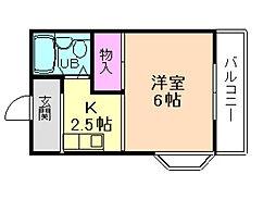 大阪府池田市石橋1丁目の賃貸アパートの間取り