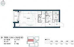 福岡市地下鉄七隈線 渡辺通駅 徒歩9分の賃貸マンション 5階ワンルームの間取り