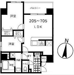 東京メトロ半蔵門線 錦糸町駅 徒歩9分の賃貸マンション 6階2LDKの間取り