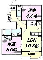 JR五日市線 武蔵増戸駅 徒歩15分の賃貸アパート 1階2LDKの間取り