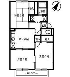 プレジール中島 B[2階]の間取り