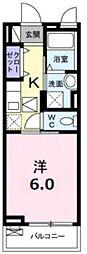 JR中央線 東小金井駅 徒歩5分の賃貸アパート 1階1Kの間取り