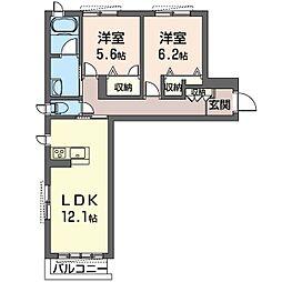 仮)中原区上小田中1丁目シャーメゾンA 1階2LDKの間取り
