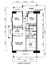兵庫県神戸市西区井吹台西町2丁目の賃貸マンションの間取り