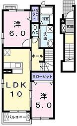 東京都青梅市梅郷6丁目の賃貸アパートの間取り