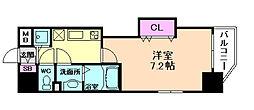 阪急宝塚本線 十三駅 徒歩3分の賃貸マンション 8階1Kの間取り