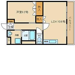 南海高野線 萩原天神駅 徒歩10分の賃貸アパート 1階1LDKの間取り