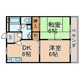 滋賀県大津市今堅田2丁目の賃貸マンションの間取り
