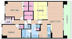 セントプレイス大阪ガーデンアクアコート[3階]の間取り