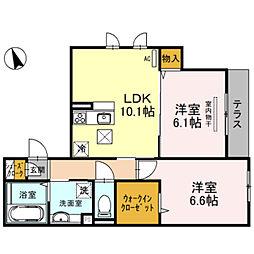 仮称D-room墨江1丁目 1階2LDKの間取り