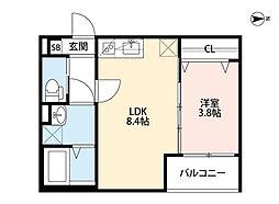 Osaka Metro今里筋線 瑞光四丁目駅 徒歩10分の賃貸アパート 2階1LDKの間取り