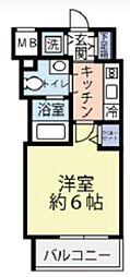 東急東横線 反町駅 徒歩3分の賃貸マンション 5階1Kの間取り