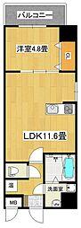 泉北高速鉄道 深井駅 徒歩3分の賃貸マンション 5階1LDKの間取り