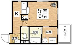 Osaka Metro谷町線 出戸駅 徒歩3分の賃貸マンション 4階ワンルームの間取り