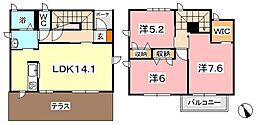 [テラスハウス] 岡山県倉敷市茶屋町 の賃貸【/】の間取り