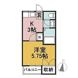 第5コーポふじ[3A号室]の間取り