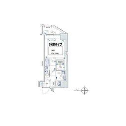 グランリーヴェル横濱Premier(プルミエ) 7階1Kの間取り