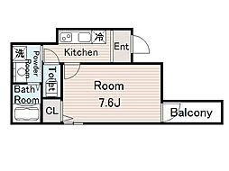 フジパレス今福西II番館 1階1Kの間取り