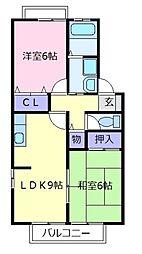 エクセルコーポ陵南B棟[2階]の間取り