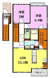 関東鉄道常総線 下妻駅 7.7kmの賃貸アパート 2階2LDKの間取り