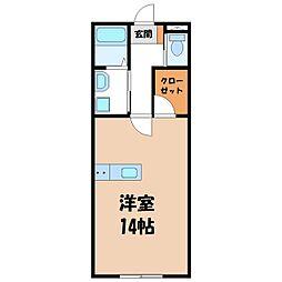 EMINENCE清原台 1階ワンルームの間取り