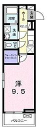 東急田園都市線 長津田駅 徒歩5分の賃貸アパート 1階1Kの間取り