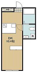 都営三田線 西台駅 徒歩7分の賃貸マンション 2階1DKの間取り