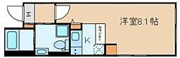 クラヴィール上野田原町 4階ワンルームの間取り