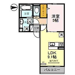 Osaka Metro御堂筋線 新金岡駅 徒歩13分の賃貸アパート 2階1LDKの間取り