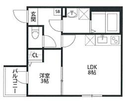 THE HOUSE 与野本町 Blanc 3階1LDKの間取り