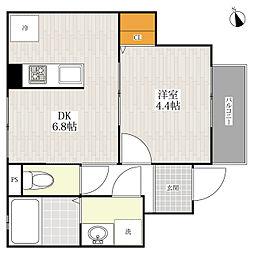 福岡県福岡市中央区六本松3丁目の賃貸アパートの間取り