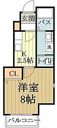 セレーノI・II 1階1Kの間取り