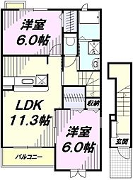 JR五日市線 武蔵引田駅 徒歩22分の賃貸アパート 2階2LDKの間取り