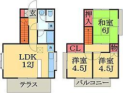 [テラスハウス] 千葉県千葉市緑区おゆみ野2丁目 の賃貸【/】の間取り