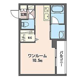 仮)中央区南町ホテルライクマンションB 2階ワンルームの間取り