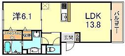 阪神本線 青木駅 徒歩3分の賃貸アパート 2階1LDKの間取り