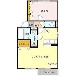 埼玉県三郷市中央2丁目の賃貸アパートの間取り