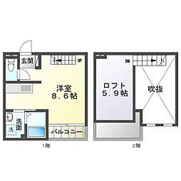 名鉄名古屋本線 東岡崎駅 徒歩13分の賃貸アパート 2階ワンルームの間取り