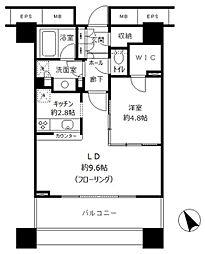 アウルタワー 22階1LDKの間取り