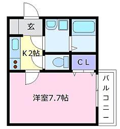 JPアパートメント松原[1階]の間取り
