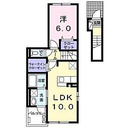 小田急小田原線 鶴川駅 徒歩22分の賃貸アパート 2階1LDKの間取り