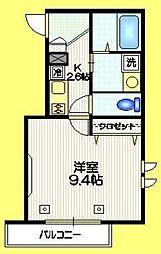 メゾン奈良 2階1Kの間取り