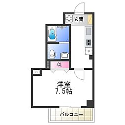Osaka Metro谷町線 阿倍野駅 徒歩2分の賃貸マンション 4階1Kの間取り